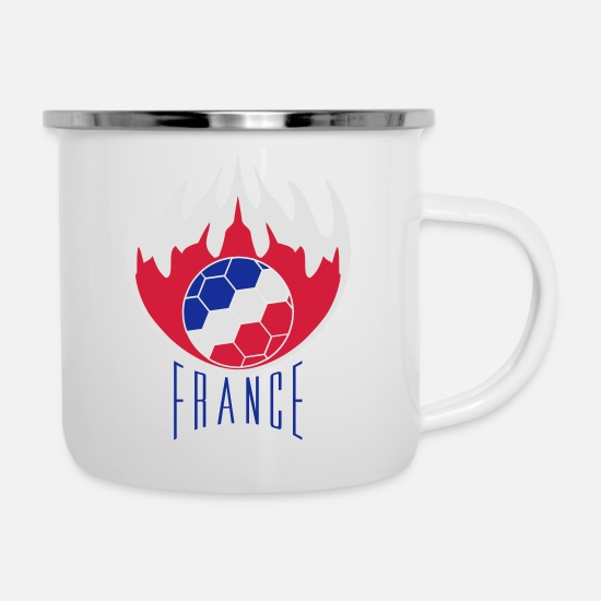 Fire Extinguisher Mugs & Drinkware - text logo fire flames burn hot france f - Enamel Mug white