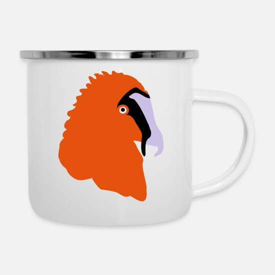 Vulture Mugs & Drinkware - Bearded head - Enamel Mug white