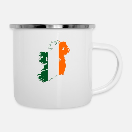 Cork Mugs & Drinkware - Ireland Home Flag - Enamel Mug white