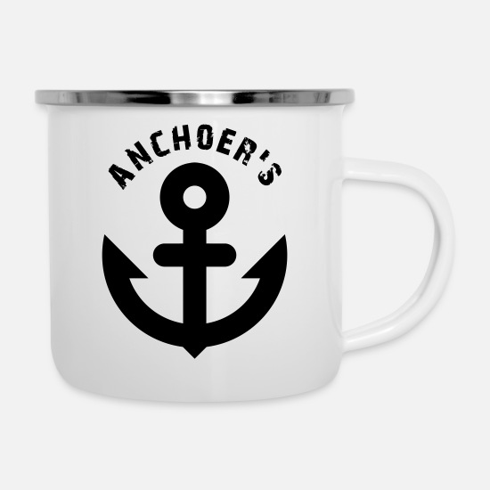 Sailboat Mugs & Drinkware - Anchoer's anchor plain - Enamel Mug white
