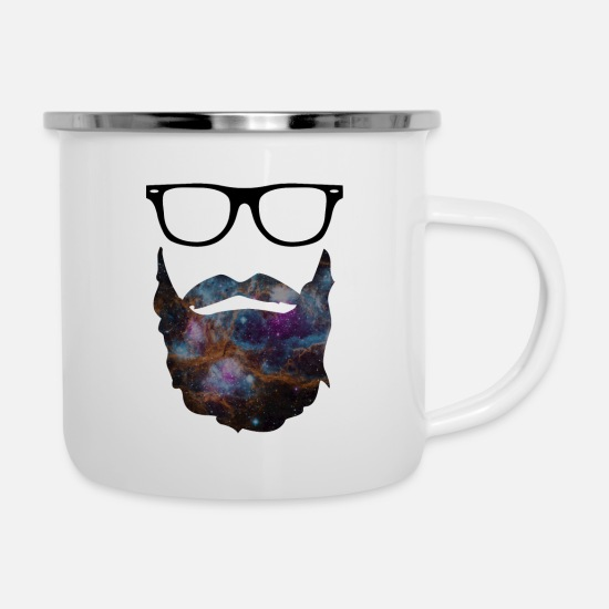 Beard Mugs & Drinkware - Beard - beard with glasses - Enamel Mug white