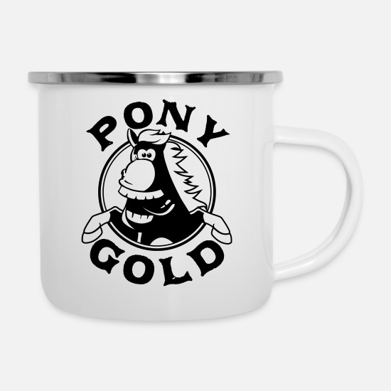 Gold Mugs & Drinkware - Pony Gold the happy horse - Enamel Mug white
