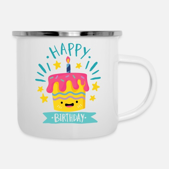 Birthday Mugs & Drinkware - Happy Birthday - Enamel Mug white