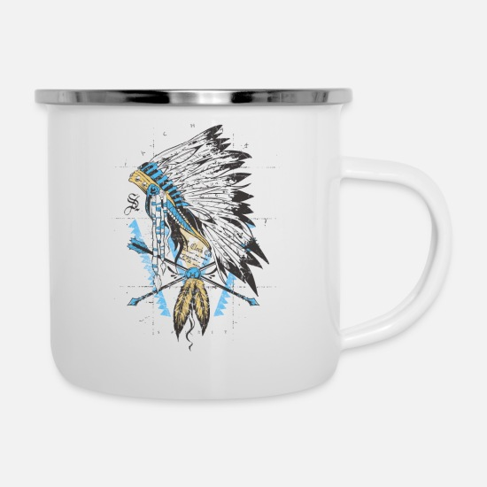 Native American Mugs & Drinkware - Indian With Chief Hair Jewelry - Enamel Mug white