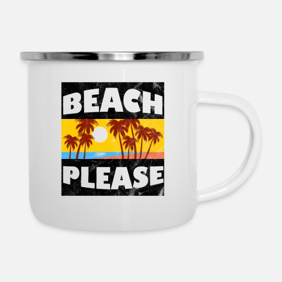 Gift Idea Mugs & Drinkware - Beach please - Enamel Mug white