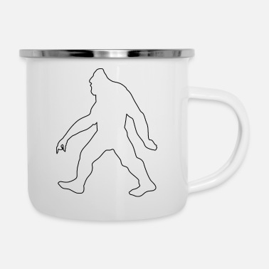 Search Outline Myth Legendary Bigfoot and Squatch - Enamel Mug