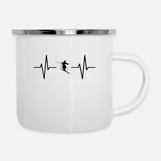 Ski Mugs & Drinkware - My heart beats for skiing! present - Enamel Mug white