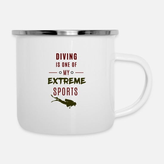 Deep Mugs & Drinkware - Diving, extreme sports ... Diving = extreme sports - Enamel Mug white