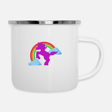 Rainbow Unicorn Unicorn on the Rainbow - unicorn at the rainbow - Enamel Mug