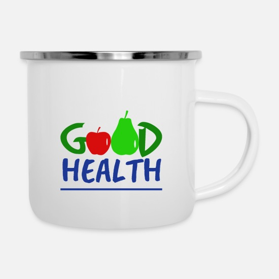 Red Mugs & Drinkware - Good Health with fruit - Good health with fruit - Enamel Mug white