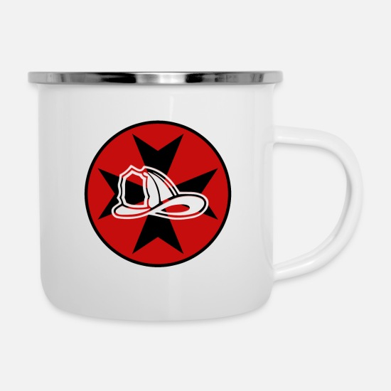Badge Mugs & Drinkware - Fire helmet as an emblem -Fire helmet as an emblem - Enamel Mug white
