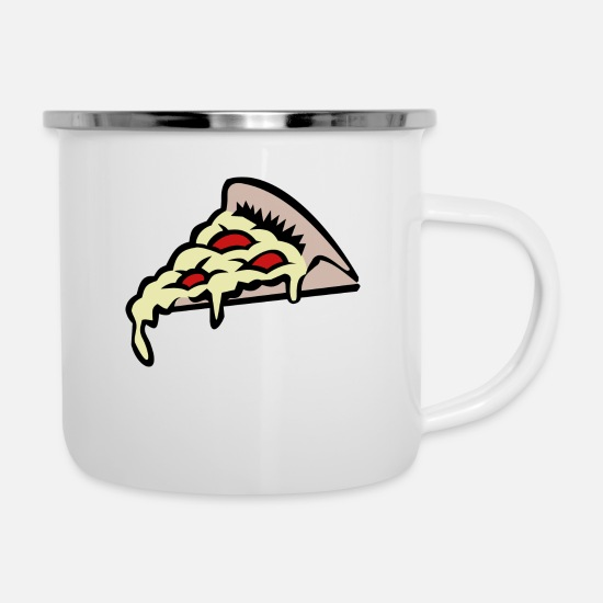 Food Mugs & Drinkware - pizza pizzeria food food restaurant15 - Enamel Mug white