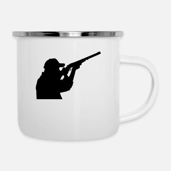 Stag Mugs & Drinkware - Hunter with rifle - Enamel Mug white