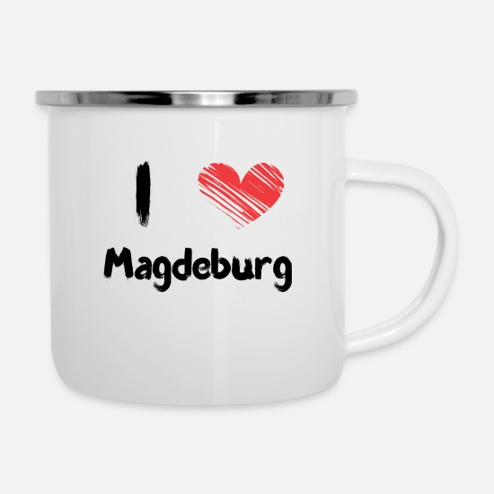 Love Mugs & Drinkware - I love Magdeburg - Enamel Mug white