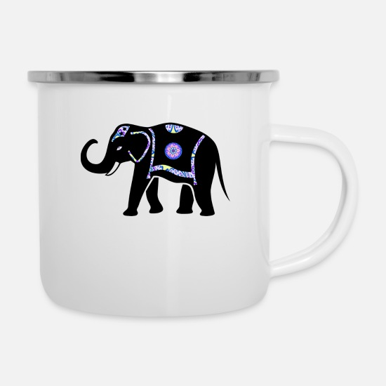 Ornament Mugs & Drinkware - Elephant India - Enamel Mug white