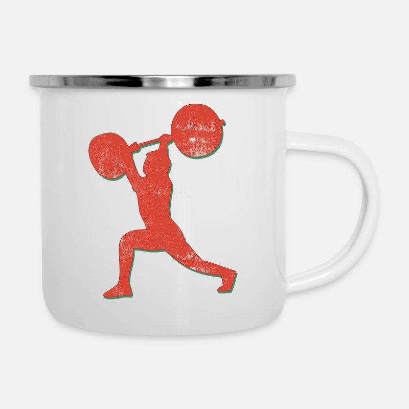 Body Builder Mugs & Drinkware - Body Building Weight Lifter - Enamel Mug white