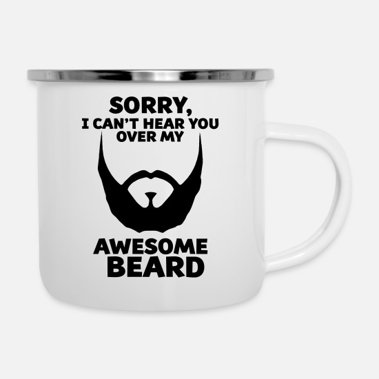Mustache T Shirt Mugs et récipients - AWESOME BEARD - Mug émaillé blanc
