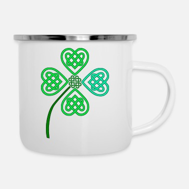 Celtic celtic luck leaf blue - Emaille-Tasse