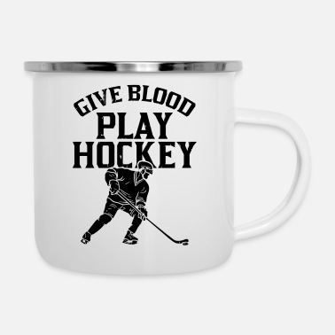 Give Blood Play Hockey - Tazza smaltata