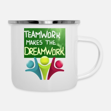 Team Awesome DREAMWORK MAKES THE DREAMWORK mit Jubelteam - Emaille-Tasse
