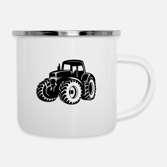 Country Mugs & Drinkware - tractor - Enamel Mug white