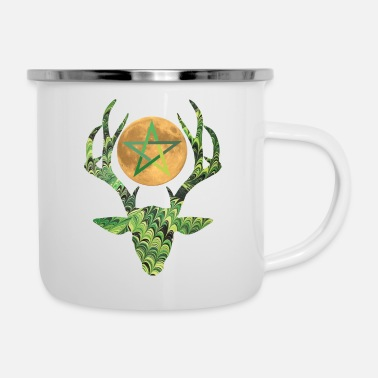 Meadow deer head with moon and pentagram - Enamel Mug