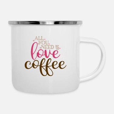 Coffee Love and Coffee Gift Love Partner Relationship V - Enamel Mug
