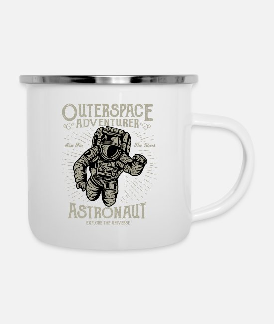 Space Mugs & Drinkware - Astronaut, Space Adventure, Outerspace Adventure - Enamel Mug white