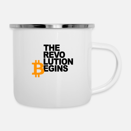 Beginning Mugs & Drinkware - The Revolution Begins - Bitcoin Cryptocurrency - Enamel Mug white