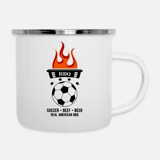Alternative Mugs & Drinkware - SOCCER BEEF BEER - Enamel Mug white