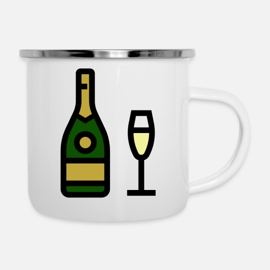 Sparkle Mugs & Drinkware - Champagne glass, sparkling wine, champagne glass - Enamel Mug white