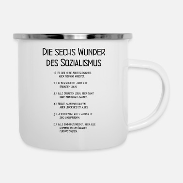 Communisme The Six Wonders of Socialism - DDR - Grappig - Emaille mok