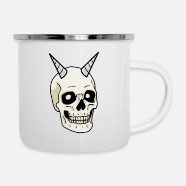 Skull Skull Damon Dark Fantasy Gothic Halloween - Tazza smaltata