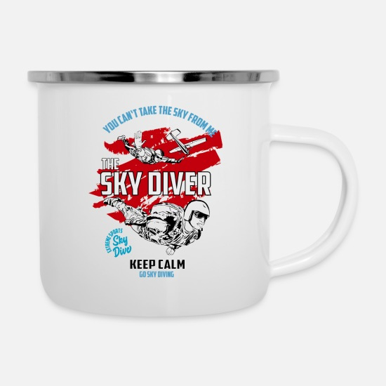 Skies Mugs & Drinkware - Sky diving, parachutist - Enamel Mug white