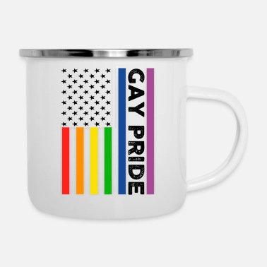Gay Pulse Gay Pride American Flag - Tazza smaltata
