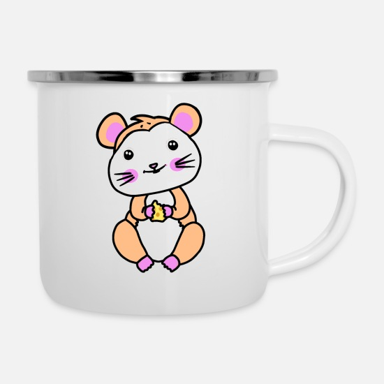 Pet Mugs & Drinkware - Hamster rodent fantasy children hunger - Enamel Mug white