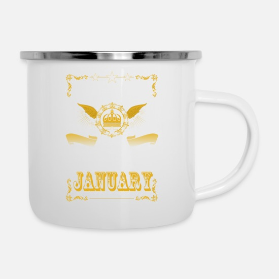 Birthday Mugs & Drinkware - Legends are born in January - Enamel Mug white