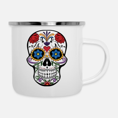 Beautiful cute skull colorful dead head style cranium - Enamel Mug