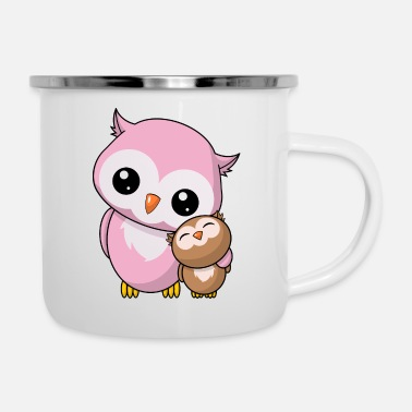Siblings Owls siblings - Enamel Mug