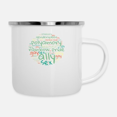 Nice Gay Word Cloud. Nice transgender Design - Enamel Mug