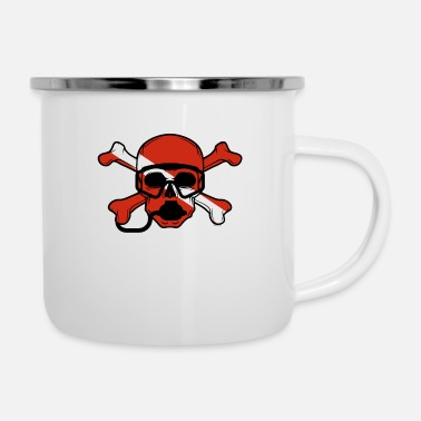Scuba Skull and Crossbones Scuba Diving Dive Flag design - Enamel Mug