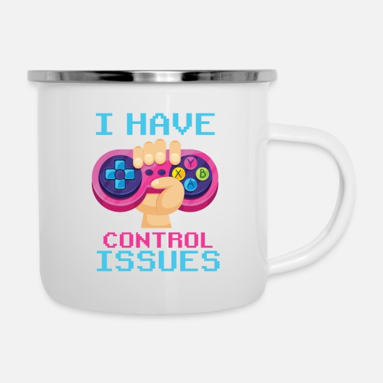 Play Mugs & Drinkware - Gaming Shirt Gamer Computer Retro Nerd Gift - Enamel Mug white