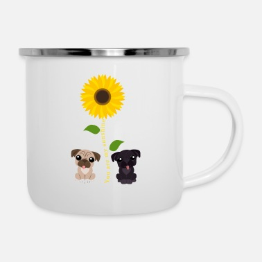 Bulldog Jij bent My Sunshine Sunflower Pug - Emaille mok