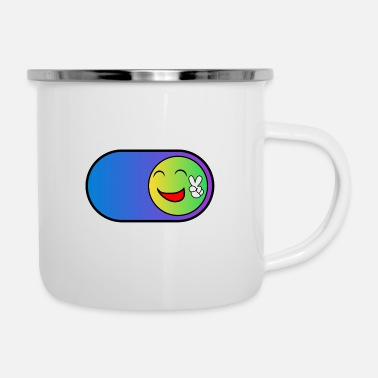 Smile Button | Geschenk lustig kids - Emaille-Tasse