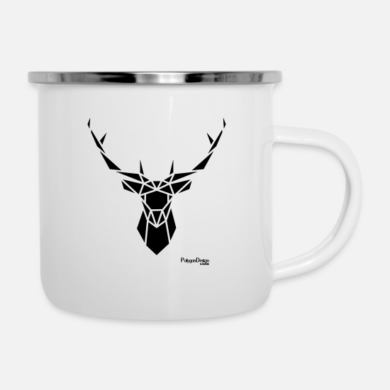 "Art Mugs & Drinkware - ""Geometric moose deer"" Hipsterstyle - Enamel Mug white"