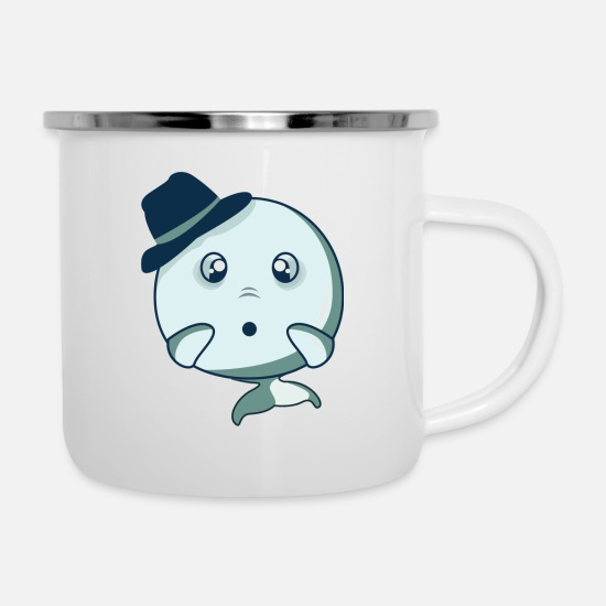 Birthday Mugs & Drinkware - Surprised narwhal - Enamel Mug white