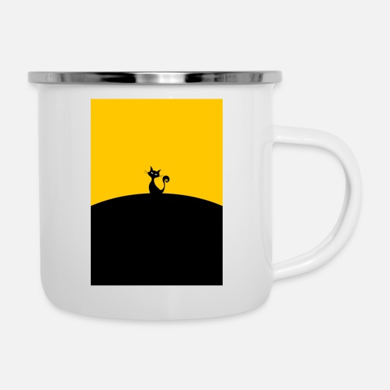 Gift Idea Mugs & Drinkware - black cat - Enamel Mug white