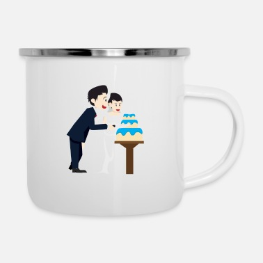 Wedding Couple Wedding marriage couple cake - Enamel Mug