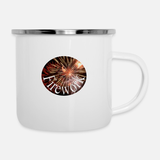 New Year's Day Mugs & Drinkware - Fireworks - Enamel Mug white