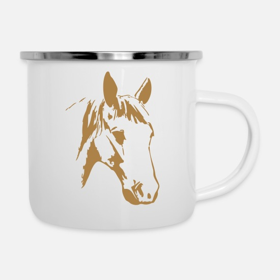 Comics Mugs & Drinkware - horse horses pony riding - Enamel Mug white